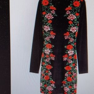 H & M SOFT LUXURIOUS BLACK FLORAL PRINT DRESS S 12